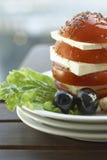 Salad Capreze. Caprese Salad - Mozzarella, Tomato & Basil Plate Royalty Free Stock Images