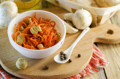 Salad and carrot with marinated mushrooms Royalty Free Stock Photo