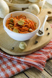 Salad and carrot with marinated mushrooms Royalty Free Stock Images