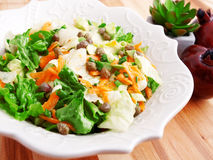 Salad with carrots, arugula and capers Stock Image