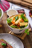 Salad with carrots and asparagus. Korean food stock photo