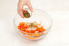 Salad with carrots and spices Royalty Free Stock Photography
