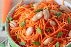 Salad of carrots with white beans and green onions Royalty Free Stock Photography