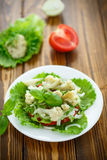 Salad with cauliflower, tomatoes and herbs Royalty Free Stock Photos