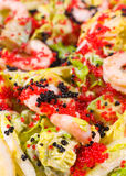 Salad of caviar and shrimps, macro Stock Photo