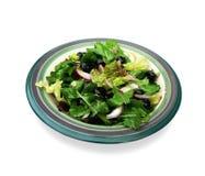 Salad in ceramic bowl. Green salad in ceramic bowl stock photos