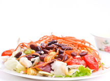 Salad with cereals. Salad with vegetables and cereals on white background Royalty Free Stock Photos
