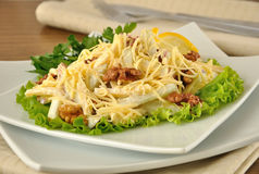 Salad with cheese and apple, walnuts and yogurt Stock Photos