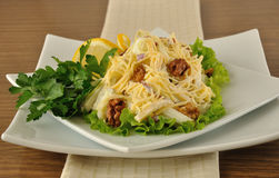 Salad with cheese and apple, walnuts and yogurt Royalty Free Stock Photos