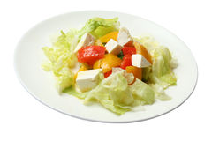 Salad with cheese by a feta. Pepper and cabbage Royalty Free Stock Photo