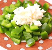 Salad with cheese. A fresh salad of paprika and cheese Stock Photo