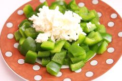 Salad with cheese. A fresh salad of paprika and cheese Royalty Free Stock Photo
