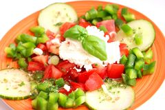 Salad with cheese. A fresh salad of paprika, tomatoes and cheese Royalty Free Stock Photography