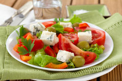 Salad with cheese gorgonzola Stock Image