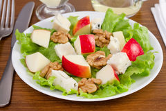 Salad of cheese gorgonzola with apple Stock Image