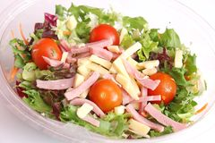 Salad with cheese and ham Royalty Free Stock Image