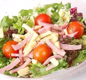 Salad with cheese and ham Royalty Free Stock Photo