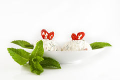 Salad from cheese and a paprika. Refined salad from cheese and a paprika Stock Photo
