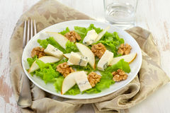 Salad with cheese, pears Royalty Free Stock Images