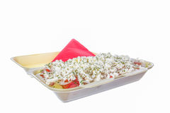 Salad with cheese tomato pepper packed to go Royalty Free Stock Image