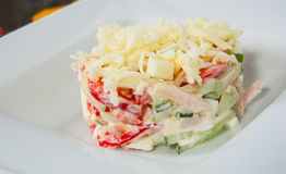 Salad with cheese, vegetables, egg, ham. On plate Stock Photography