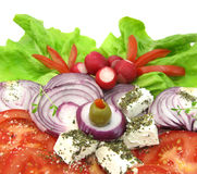 Salad with cheese, vegetables and spices Stock Photography