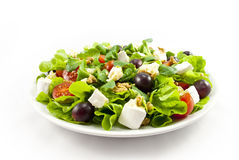 Salad with cheese on white background Royalty Free Stock Photos