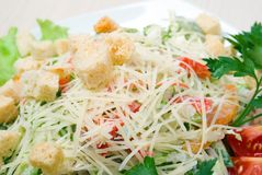 Salad with cheese and zwieback Royalty Free Stock Images