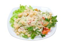Salad with cheese and zwieback close up Royalty Free Stock Photo