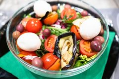 salad from cherry tomatoes with mozzarella cheese royalty free stock image
