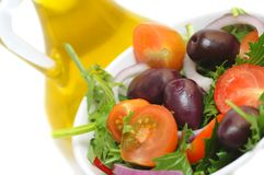 Salad with cherry tomatoes, onion and olives Royalty Free Stock Photos