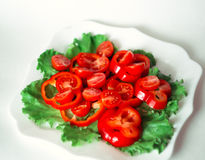 Salad with cherry tomatoes and red pepper Stock Image