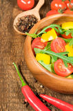 Salad with cherry tomatoes , sweet peppers and arugula Stock Photography
