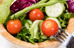 Salad with cherry tomatoes in wooden bowl Royalty Free Stock Photography