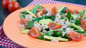 Salad with cheryy tomatoes, tuna and avocado Royalty Free Stock Images