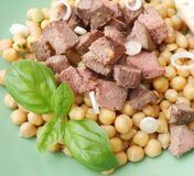 Salad of chick peas and liver Stock Photos