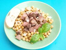 Salad of chick peas and liver Stock Photo