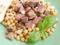 Salad of chick peas and liver Stock Photography