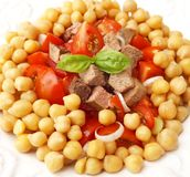 Salad of chick peas and liver Royalty Free Stock Photography