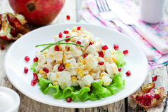 Salad with chicken breast, corn, cheese, pineapple and pomegranate Stock Photography