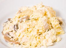 Salad with chicken breast, mushrooms, pineapple, cheese, egg Stock Photography