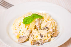 Salad with chicken breast, mushrooms, pineapple, cheese, egg Royalty Free Stock Photography