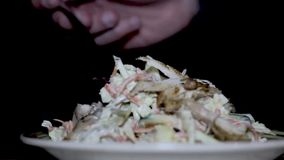 Fresh salad with chicken and vegetables stock video footage