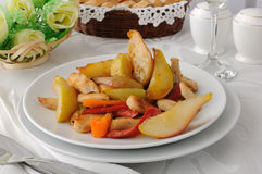 Salad of chicken and caramelized pears stock photo