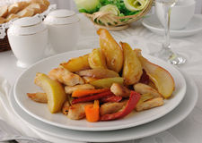 Salad of chicken and caramelized pears Royalty Free Stock Images