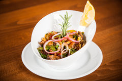 Salad. Chicken, corn, onions mexican salad Royalty Free Stock Photos