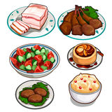 Salad, chicken, cutlets, pudding, mousse and lard. Set of salad, chicken, cutlets, pudding, mousse and lard. Vector food. Illustration in cartoon style isolated Stock Photography