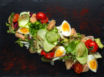 Salad of chicken eggs and tomato-2 Royalty Free Stock Photos