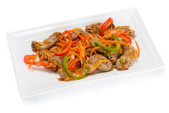 Salad of chicken gizzards and spices royalty free stock photo