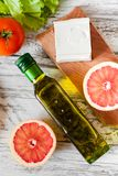 Salad with chicken, grapefruit, cheese and tomatoes Stock Photo